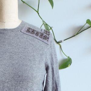 J. CREW Jewel Embellished Epaulet Cashmere Sweater